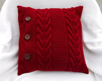 Burgundy accent pillow dark red knit pillow covers 18x18 pillow for couch cushion throw pillow wine red sofa pillow new home gift for mother