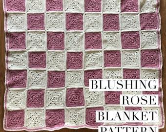 Blushing Rose crochet blanket pattern baby toddler handmade gift