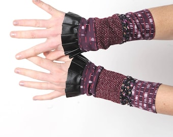 Stretchy purple jersey cuffs with black ruffles, in a patchwork of patterned fabrics, Womens gift idea, Womens accessories, MALAM