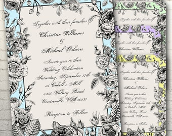 Botanical Sketch Wedding Invitation