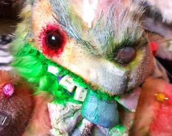 Dust Bunny - Creepy Bunny Soft Toy, Green Devil Abandoned Toys, Scary Plush with teeth , Goth Stuffie, Monster Doll, Horror Easter Doll