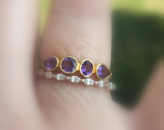 Amethyst Ring, Multi stone, Amethyst 14k Gold Band, Made to Order, 14K yellow, white, rose gold, sterling silver, Birthstone Band