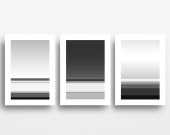 Minimalist Poster, Abstract Landscape Wall Art Prints, Set of 3 Prints, Black and White, Coastal Decor, Geometric Print, Home Decor, ON SALE