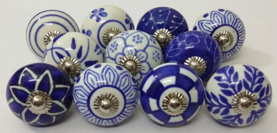Blue and White Ceramic Knobs Handpainted Kitchen Cabinet Knobs