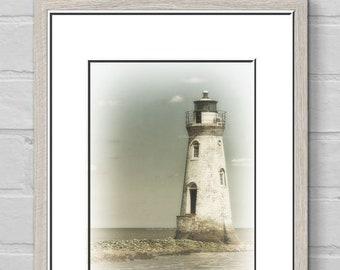 Cockspur Lighthouse-Nautical Wall Art-Coastal Photography-Lighthouse Wall Print-Fine Art Photography-Georgia Coast Print-Vertical Print