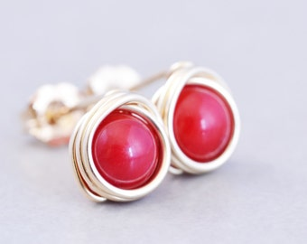 Red Coral Studs, Red Posts, Poppy Red Stud Earrings, Red Studs