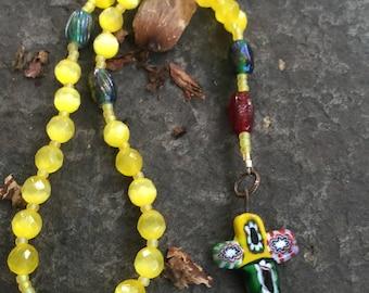 Anglican Rosary  Protestant Prayer Beads. Episcopal Rosary  Millifiori Cross  Yellow Cats Eye Glass Bead   Christian Meditation Beads