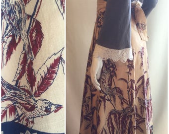 70s Bird Print Wrap Skirt