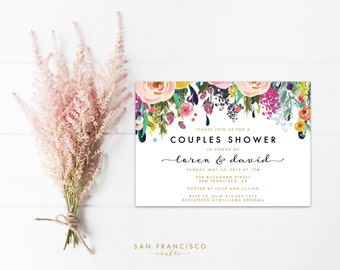 Couples Shower Invitation    Printable Floral Couples Shower Invite    Garden, Gold, Black   Ashley collection   Digital File