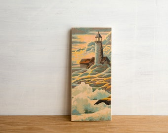 Paint by Number Art Block 'Lighthouse Sunset' - seascape, vintage marine art, water, waves