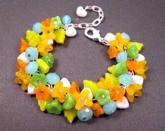 Flower Charm Bracelet, Colorful Bouquet, Silver Cha Cha Bracelet, FREE Shipping U.S.