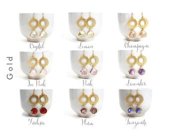 Gold Lace Flower Earrings Dangle Earrings Bridesmaids Earrings, Glass Wedding Jewelry, Glass Bridesmaid Earrings, Bridesmaid Gift