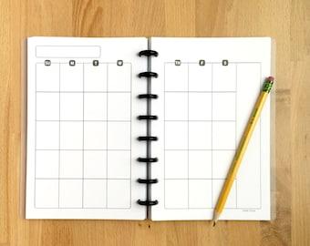 Monthly Calendar Planner Pages - Organizer - Undated - Printed - Disc Bound Planner - Fits Circa, Arc - Junior-Half Page Size - 5.5x8.5