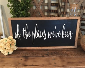 Oh the places we've been wood framed sign