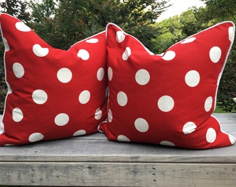 Red white polka dot decorator throw pillow teen girls or nursery 22 inch square