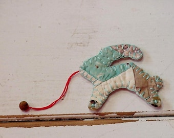 Primitive Rabbit Brooch, Shabby Folk Art Quilted Pull Toy Bunny Ornament, Original Prim Textile Fiber Lapel Pin Embellishment itsyourcountry