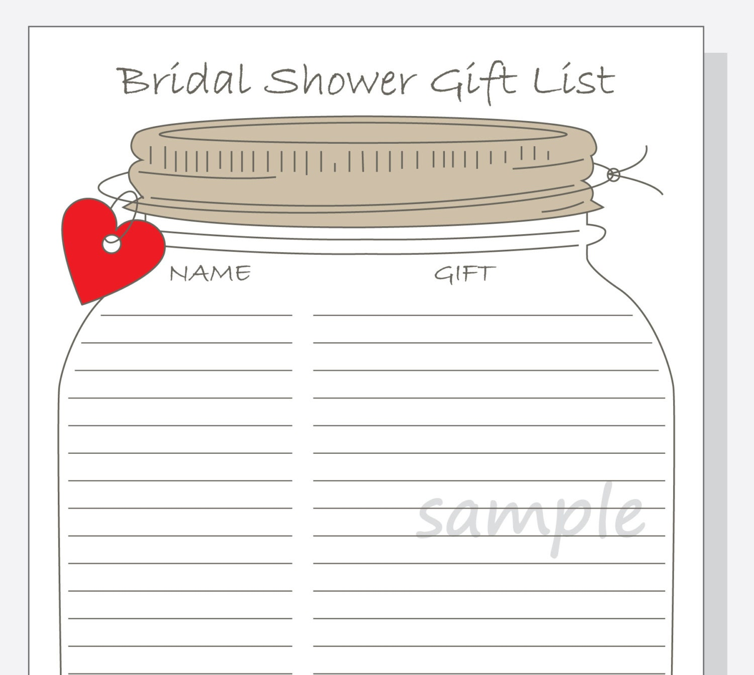 Bridal shower gift list printable diy mason jar design with zoom negle