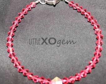 Swarovski Crystal Beaded Bracelet - Indian Pink