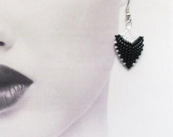 Earrings, Black and White, Beaded Short Drops