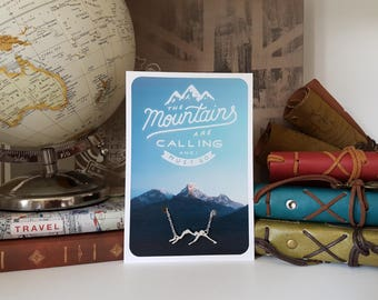 Mountains Necklace - The mountains are calling and I must go (Travel Gift)
