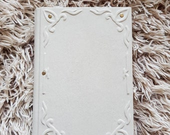 white leather notebook journal blank book handmsde