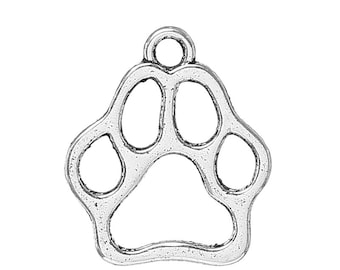 25 pieces Antique Silver Dog Footprint Charms