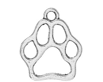 50 pieces Antique Silver Dog Footprint Charms