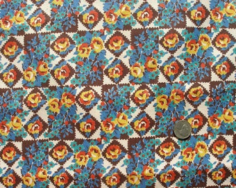 Vintage cotton print fabric in colors popular in the '60s and '70s