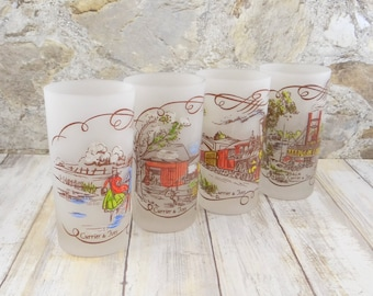 Currier and Ives Frosted Tumblers, Hazel Atlas, Gay Fad Designs