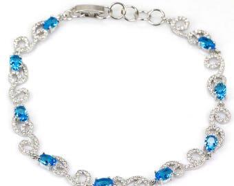 Sterling Silver Swiss Blue Topaz Gemstone Elegant Bracelet With AAA CZ Accents