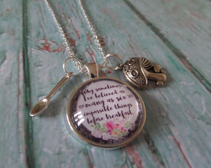 """ALICE in WONDERLAND inspired """" six impossible things """" glass dome necklace  fan gift jewellery Xmas Uk"""