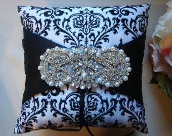 Black and White Ring Bearer Pillow - Rhinestone Ring Bearer Pillow - Wedding Pillow - Satin Ring Bearer Pillow