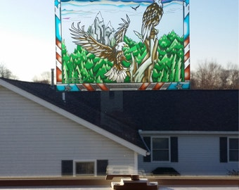 """Eagle """"Stained Glass"""" Style WINDOW CLING"""