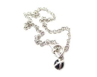 Modernist / Minimalist Vintage 925 Sterling Silver Chain Necklace with Circular Black Onyx Minimalist Pendant