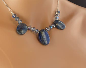 Necklace and Earring set Blue Lapis and Crystal