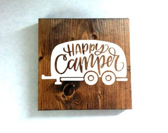 happy camper sign, camping sign, rustic sign, cabin sign