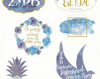 "Stickers -- ""Zeta Phi Beta"" Water Color Sticker Sheet"