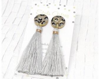 Grey tassel earrings nickel free earrings leopard print earrings lightweight earrings polymer clay earrings leopard print earrings