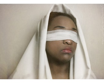 Blind - Photo - Free US Shipping - Multiple Sizes - Woman in White with Blindfold - African American - Home Decor - Fine Art Photo Print