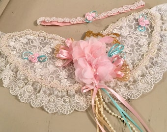 Baby Headband and Wings in Pink, Gold, Aqua, Fairy Wings, Photo Prop, Angel Wings, Vintage Wings, Baby Photography, Gold Glitter, Baby Girl