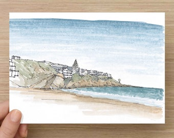 Ink and Watercolor Drawing of beach at Corona Del Mar near Newport Beach in Orange County, California - Sketch, Art, Pen and Ink, 5x7, 8x10