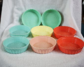 Vintage Set of 8 Favor or Coaster Containers Assorted Pastels