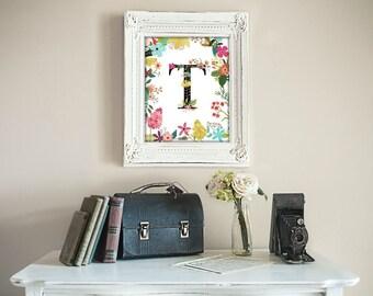 printable art Garden Series, Letter T,  Monogram, Floral, Flower Lettering Art print