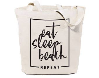 Eat, Sleep, Beach, Repeat Cotton Canvas Beach, Shopping and Travel Reusable Shoulder Tote and Handbag, Gifts for Her, Farmers Market, Summer