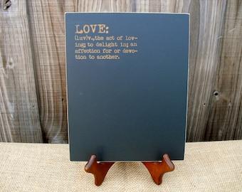 Frameless Wedding Chalkboard - Love Defined - Item E1489