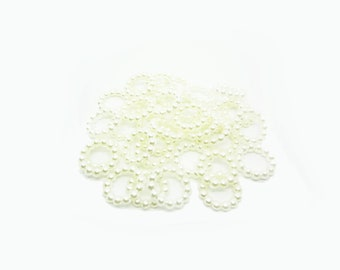White Faux Pearl Circle Rings, 15mm