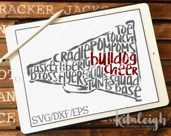 Messy Bulldog Cheer INSTANT DOWNLOAD in dxf, svg, eps for use with programs such as Silhouette Studio and Cricut Design Space