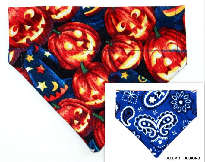 DOG BANDANA ~ Over the Collar ~ Reversible ~ Halloween, Pumpkins ~ Bell Art Designs ~ Extra Extra Small 230
