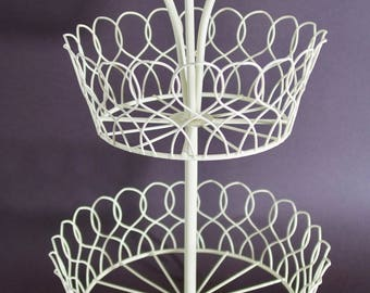 Very Pretty and Decorative Off-White, Covered Wire, 3 Tiered Storage Display Basket, or Fruit Stand
