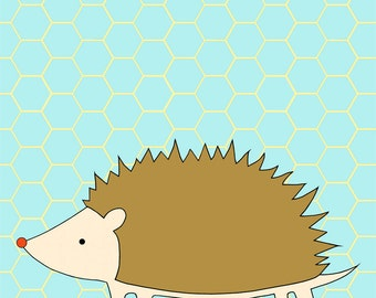 hedgehog print, fine art print by kate durkin, nursery art print